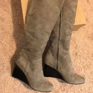 Cole Haan Cora Gray Suede Wedge Boots 9.5
